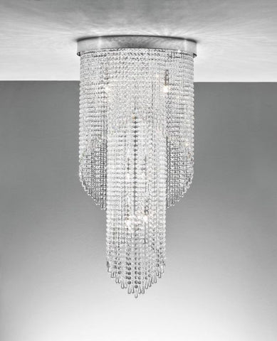 Metre-tall lead crystal waterfall ceiling light