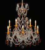 12 Light Ivory Chandelier with Amber and Clear Crystals