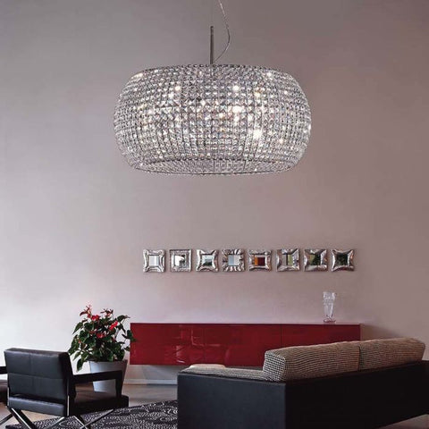 Modern crystal pendant light with Swarovski option