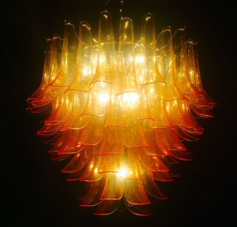 Vivid orange Murano glass petali style pendant light