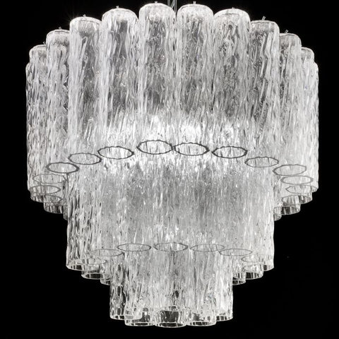 Mid-century style Murano corteccia glass cylinder chandelier