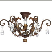 Dark Rust-colour Metal Ceiling Light with Glass Crystals