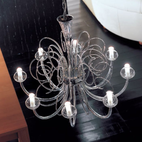 Clear, white or black Murano glass chandelier in 7 sizes