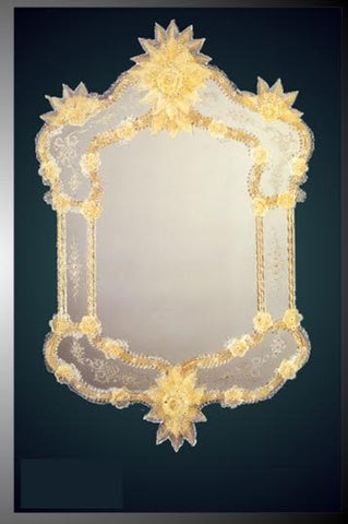 Amber and Pale Gold Venetian Wall Mirror