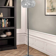 Nickel & Italian crystal floor lamp. Swarovski and gold options