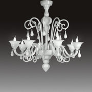 White glass 8 Light Chandelier