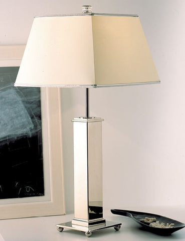 Classic palladium table light from Italy with ivory silk shade