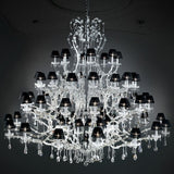 Crystal Glass Chandelier with Black Organza Shades