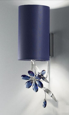 Blue Swarovski Strass crystal single wall light with blue shade