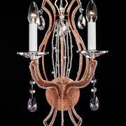 Copper leaf wall light with Asfour crystals  wall sconce with As