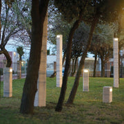 Tall natural Italian Travertine garden bollard light with LED