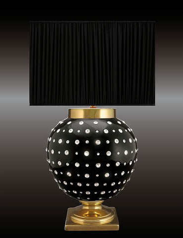 Black and gold lamp with Swarovski crystals and shade