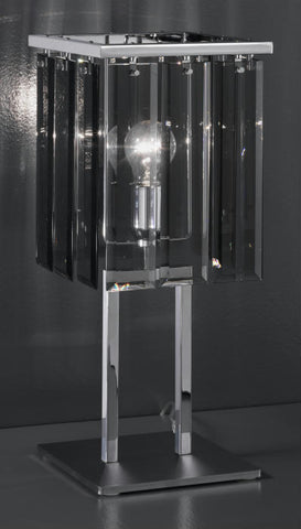 Modern metal table lamp with smoked grey glass diffuser
