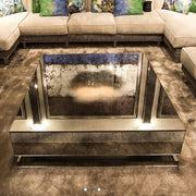 Oak veneered Venetian mirrored coffee table