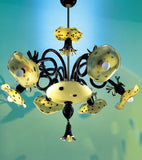 Afrika Pom Pon black and amber Murano glass chandelier