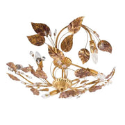 Gold Metal Ceiling Light with Gold Leaves & Swarovski Elements