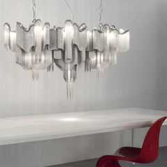 Terzani Stream 140 cm nickel cascading ceiling light fitting
