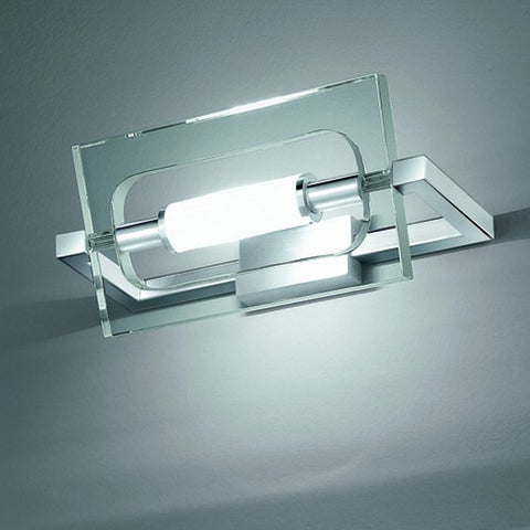 'Flat crystal'chrome and Italian glass wall light from Micron