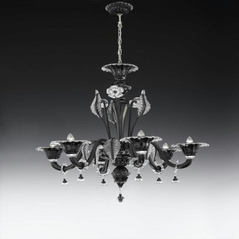Black Italian glass chandelier with six lights