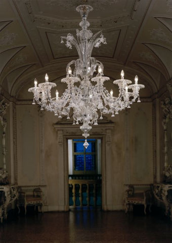 12 arm clear Murano glass chandelier in the Rezzonico style