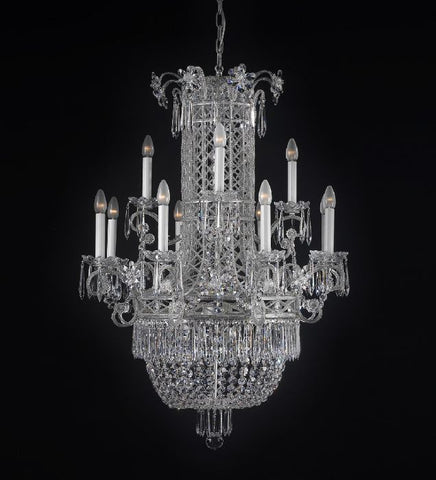 12 Light Silver Chandelier with Crystals