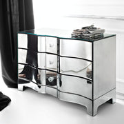 Curved Venetian mirrored chest of drawers in the modernist style