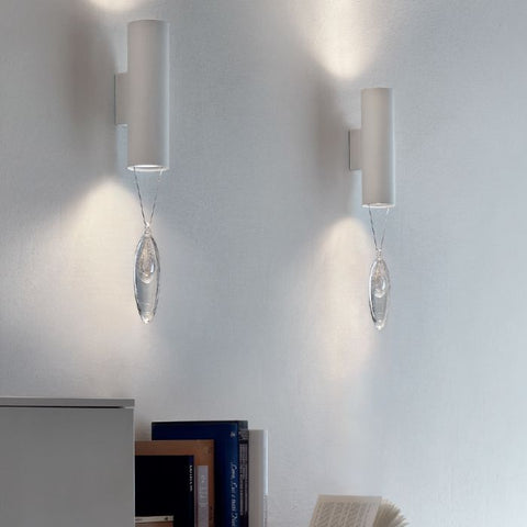 Modern wall light with silver pink or blue glass pendant