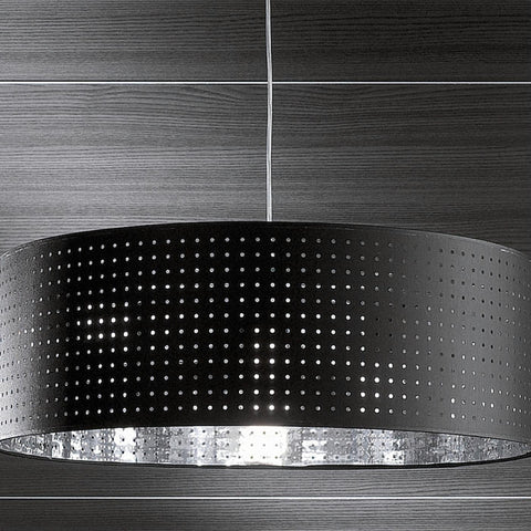 Modern ceiling light with black or white perforated shade