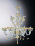 Murano glass chandelier with gold flowers