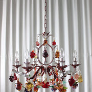 6 light Murano glass fruit chandelier with painted red frame