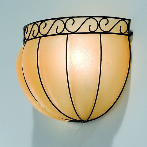 Venetian glass flush-fitting wall lamp with 'scavo' finish