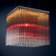 Large modern red & smoked glass rod ceiling pendant light