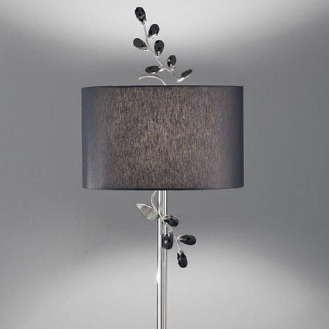Black Swarovski crystal floor light with black shade