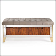 Luxury Italian footstool with padded nubuck top