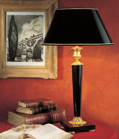 Black Belgian marble table lamp with 24 carat gold detail