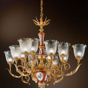 12 Light 24 Carat Gold and Porcelain Chandelier