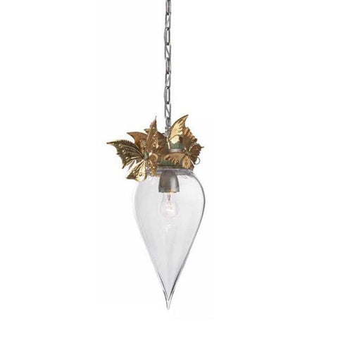 Glass Teardrop Chandelier with Gold Metal Butterflies