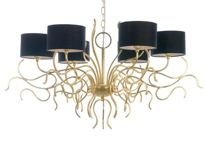 'Corallo' iron 6 light chandelier  with white or black shade