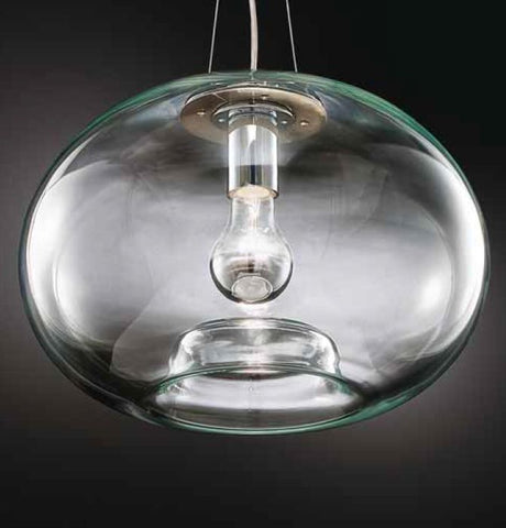 Modern clear Murano glass pendant light with visible bulb