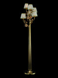 6 light gold-plated floor chandelier with pink ceramic flowers