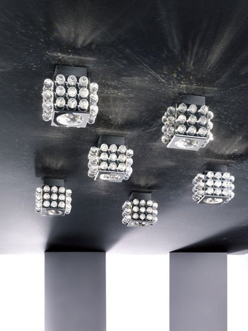 Stainless steel Italian ceiling light with Swarovski spheres