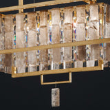 Modern industrial cage light with rock crystal lozenges
