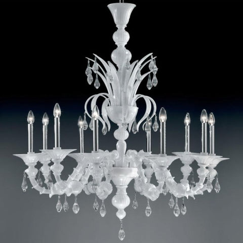 Milky white Rezzonico-style ten-light Venetian chandelier