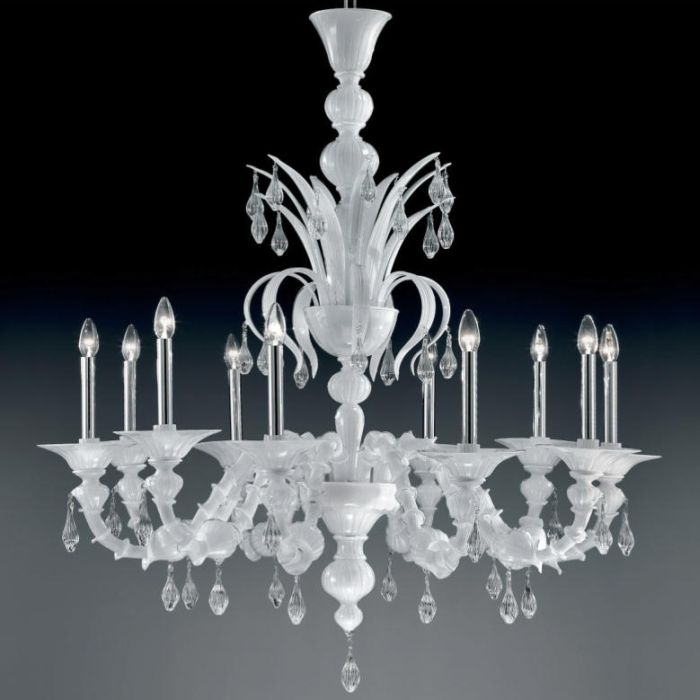 White Murano Glass Chandelier </div>