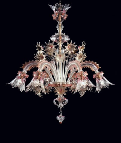 Ruby and gold Murano glass 6 light floral chandelier