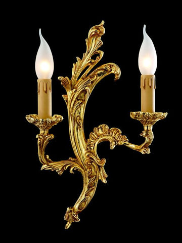 Gold-plated brass candle-style wall light