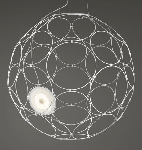 Giro F30 A01 65cm white or grey LED ceiling pendant from Fabbian