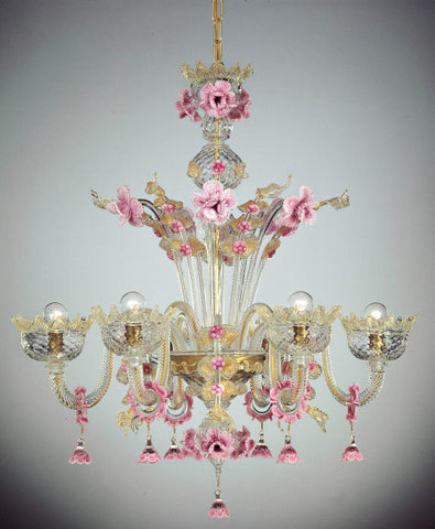Pink and Gold floral Chandelier
