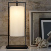 High-end metal and linen table lamp