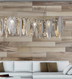 Modern white, gold & clear hanging light with Murano glass leaves
